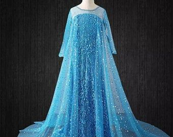 G.C Elsa Dress Princess Costume for Girls Frozen 2 Sequin Cosplay Party Dress up