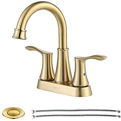 Parlos 2 Handle Bathroom Faucet Brushed Gold With Pop Up Drain