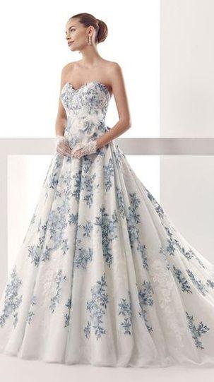Blue Flower Wedding Dress From Nicole Spose Blue Wedding Dresses