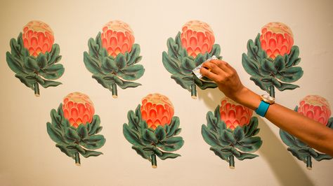 Learn how to turn botanical illustrations into romantic wall decals. #DIY