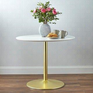 Carson Carrington Klemens Round Dining Table Black Chrome In