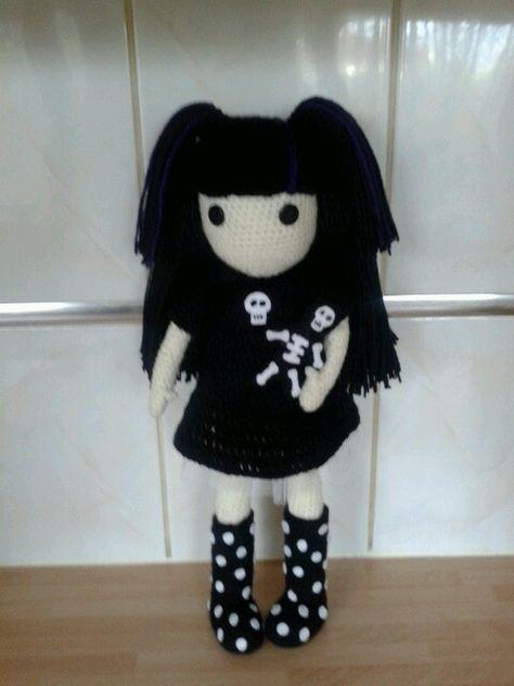 Crochet Pattern Wednesday Addams Amigurumi gothic doll whimsical ... | 632x474