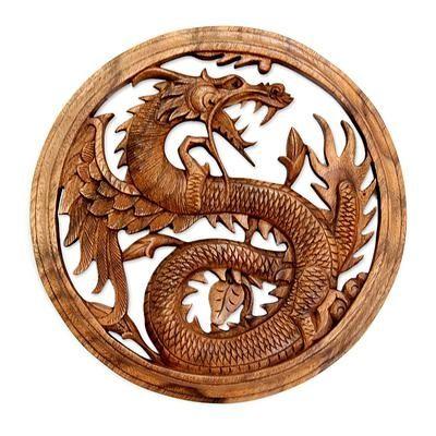 Wood wall panel, 'Dragon with Lotus Bud' by NOVICA