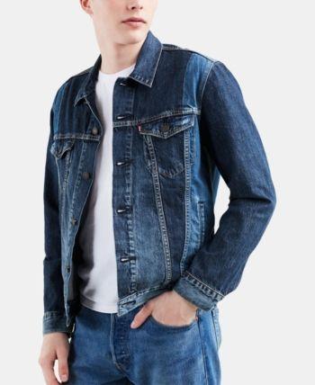 Levi S Men S Two Toned Denim Trucker Jacket Blue L Men S Denim Style Mens Denim Trucker Jacket