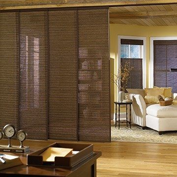 Woven Wood Sliding Panel In 2020 Hanging Room Dividers Room Divider Walls Living Room Divider