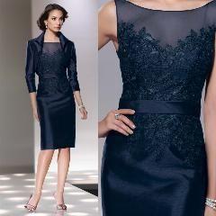 Knee Length Mother Of Bride Dresses With Jacket 3 4 Sleeves Sheer
