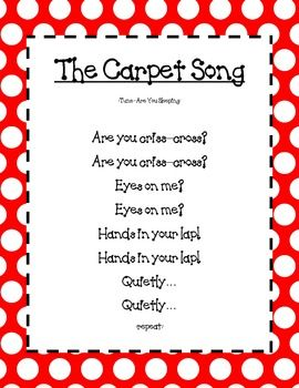 The Carpet Song Poster TeachersPayTeache… – An Open Marketplace for Original Lesson Plans and Other Teaching Resources – Kindergarten Lesson Plans
