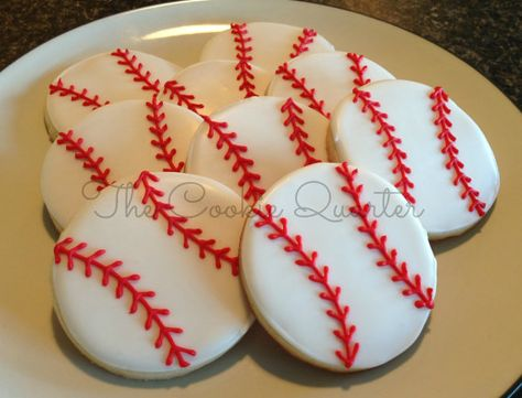 Baseball Cookies, 1 dozen, Decorated Sugar Cookies, Birthday Favors, Cookie Favors