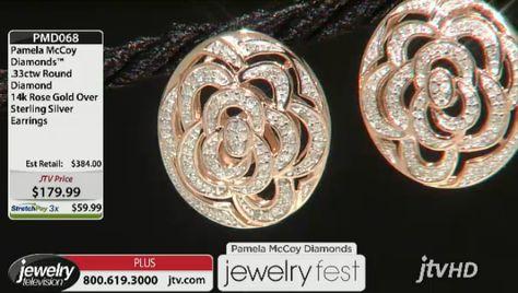 Pamela Mccoy Diamonds(Tm) .33ctw Round 14k Rose Gold Over Sterling Silver Earrings ERV: $384.00 JTV Price: $179.99