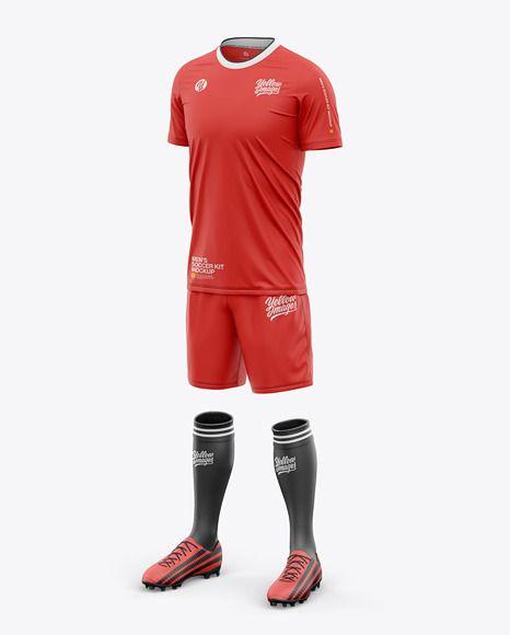 Download Download Men S Crew Neck Full Soccer Kit Front Half Side View Psd Clothing Mockup Soccer Kits Soccer Tshirts