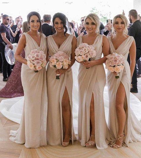 Simple V Neck Sleeveless Side Slit Chiffon Cheap Bridesmaid Dresses