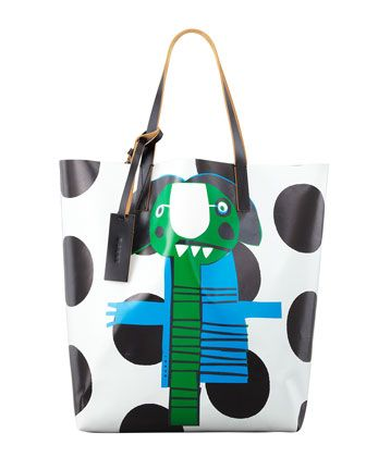 THE BUSY ONE - Marni Girl Print Faux-Leather Tote.