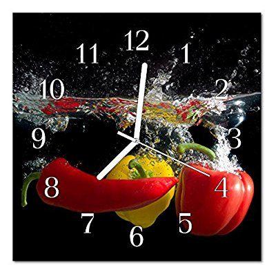 Glasuhr von DekoGlas 30x30cm quadratisch Bilderuhr aus Acrylglas - wanduhren für die küche