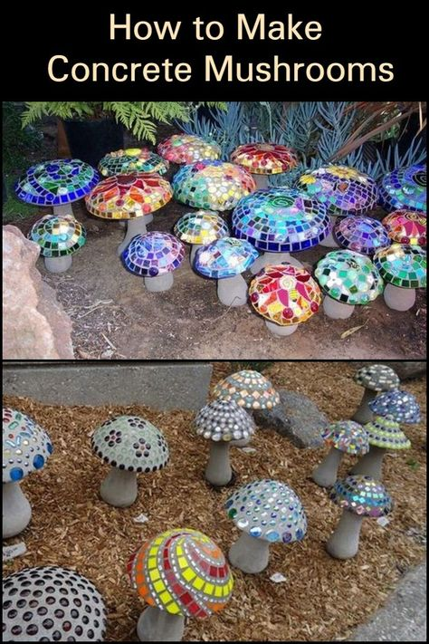 These concrete mushroom lights would make great additions to your garden. These concrete mushroom lights would make great additions to your garden.,Beton Gibs Fimo These concrete mushroom lights would make great additions to your. Concrete Crafts, Concrete Art, Concrete Projects, Concrete Garden, Concrete Fire Pits, Concrete Design, Garden Soil, Diy Garden Projects, Garden Crafts