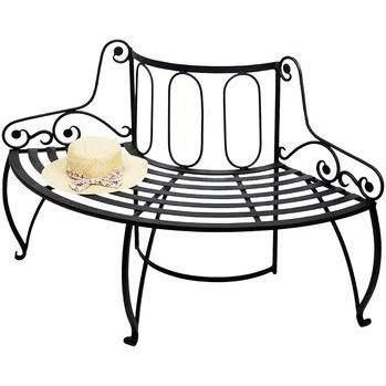Alderson Wrought Iron Tree Bench August Grove Tree Bench Wooden Garden Benches Stylish Outdoor Furniture
