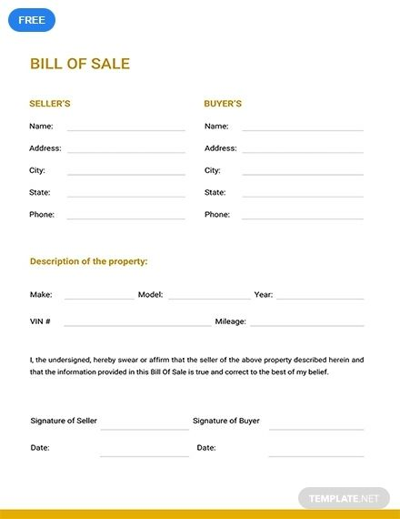 Free Bill Of Sale Template Pdf Word Doc Apple Mac Pages Google Docs Bill Of Sale Template Word Template Words