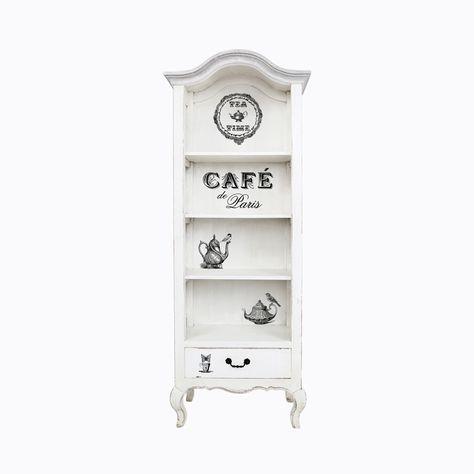 """Витрина «Анаис», версия «Парижское кафе»: мода на старину главенствует со времен Серебряного Века. """"Чем старее - тем моднее"""" - стойкий девиз современной мебели. Искусственная потертость на гранях - модный интерьерный каприз XXI века, ностальгирующего вековыми красотами французского """"прованса"""". #мебель, #витрина, #этажерка, #стеллаж, #декупаж, #прованс, #декор, #интерьер, #французскийстиль, #decouper, #stand, #showcase, #provence, #frenchstyle, #objectmechty"""