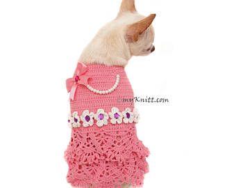 Bling Bling Orange Dog Dress Crochet Summer Hat Unique