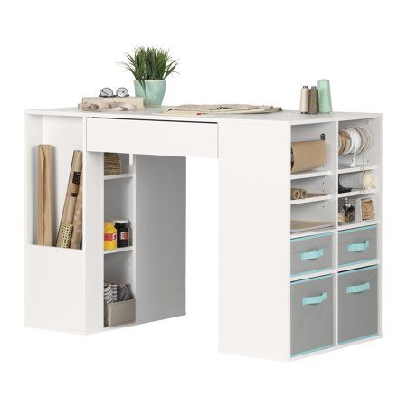 South Shore Crea White Counter Height Craft Table With Storage Walmart Com Craft Tables With Storage Craft Table Storage