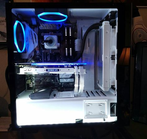 White Black Pc Build Gaming Computer Setup Custom Pc Computer Setup
