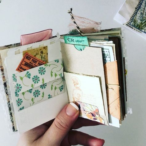 So many bits and pieces came together to create this tiny journal 😊♻️I think I need to make another one soon. 🤗 💕 . If you haven't seen the… #minijournal #junkjournal #papercrafts #papercrafting #paperlove #mixedmedia #notebook #ephemera #scrapbooking #scrapbookideas #handmadegifts