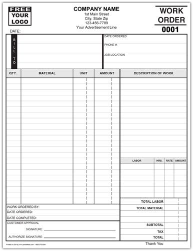 Standard Work Order Forms Invoice Template Receipt Template Pinterest Business Cards