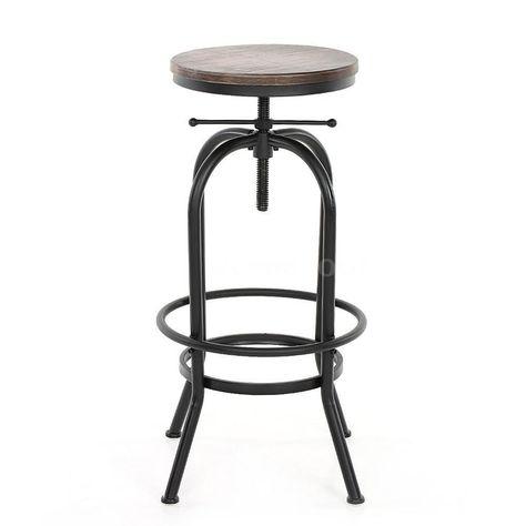 Swell Vintage Bar Stool Metal Design Wood Top Height Adjustable Frankydiablos Diy Chair Ideas Frankydiabloscom