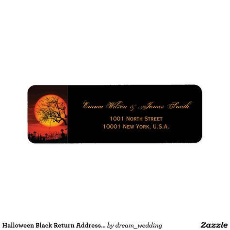 Halloween Black Return Address Labels