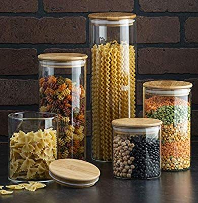 Amazon Com Canister Set Of 5 Glass Kitchen Canisters With Airtight Bamboo Lid Glass Storage Jars Fo Glass Kitchen Canisters Glass Kitchen Glass Storage Jars