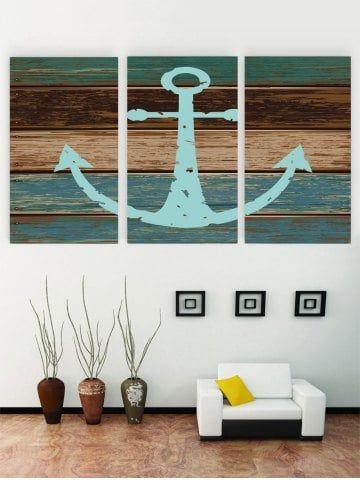 Unframed Anchor Wooden Pattern Canvas Paintings Cheap Wall Art Canvas Wall Art Set Cheap Canvas Wall Art