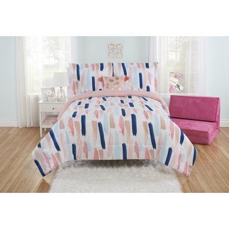 Mainstays Painterly Strokes Comforter Set With Tasseled Pillow King Walmart Com Comforter Sets Girl Comforters Comforters