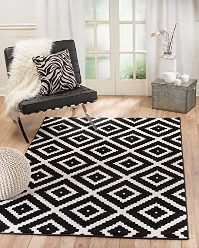 Summit 46 Black White Diamond Area Rug Modern Abstract Rug Many