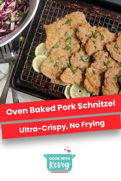This pork schnitzel is one of my most popular recipes! Baking breaded pork cutlets at a very high temperature creates crispy, juicy schnitzel. #ovenbakedpork #porkrecipes #schnitzel #bakedschnitzel #schnitzelrecipes
