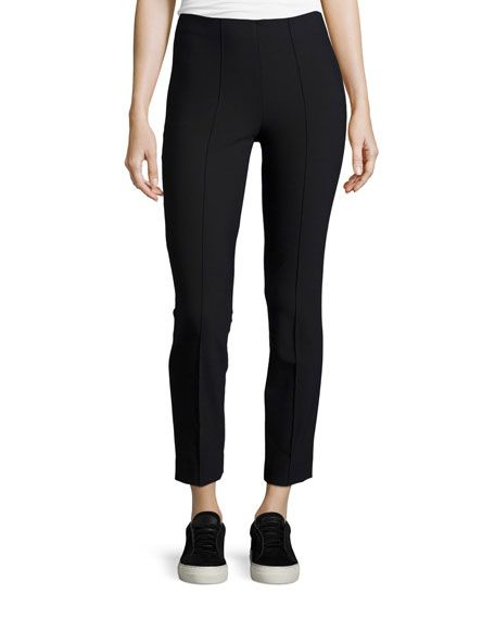 VINCE SEAMED COTTON-STRETCH TROUSERS, BLACK. #vince #cloth #