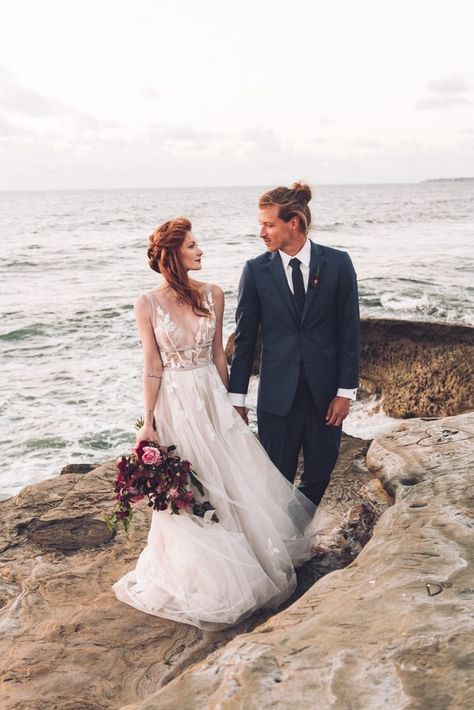Seaside Elopement at Sunset cliffs in Point Loma, with moody free flowing plum and pink wedding flowers that pop of the ocean, by San Diego Wedding Florist, Le Champange Projects .