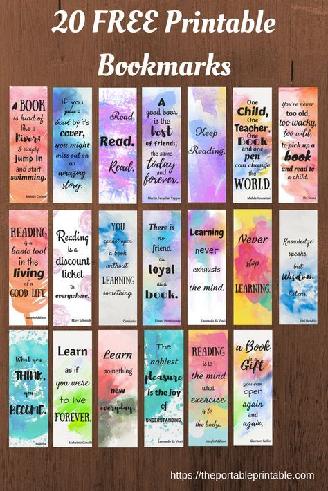 20 Free Bookmark Quotes Just Visit Https Theportableprintable