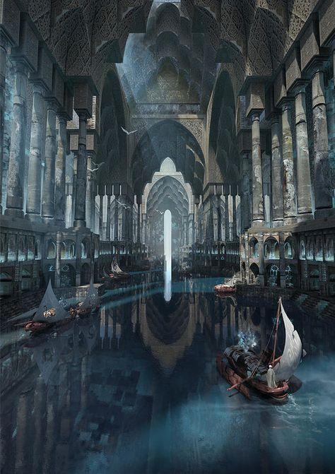 Fantasy City, Fantasy Castle, Fantasy Kunst, Fantasy Places, Fantasy World, Dark Fantasy, Fantasy Village, Final Fantasy, Fantasy Artwork