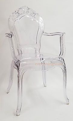 Clear Transparent Ghost Vanity Dining Arm Chair French Baroque