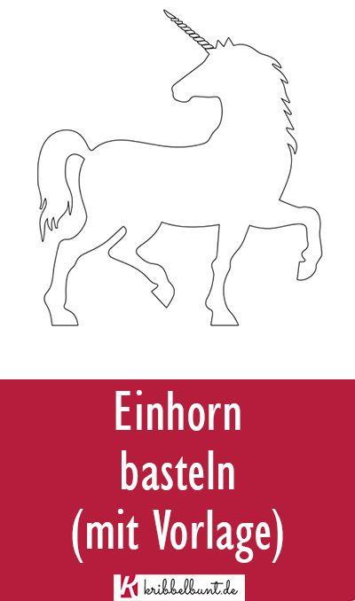 Einhorn Vorlage Einhorn Schablone Als Pdf Einhorn Basteln Vorlagen Einhorn
