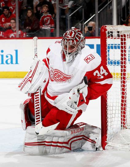 quality design 2df46 c840c NEWARK, NJ - JANUARY 22: Petr Mrazek #34 of the Detroit Red ...