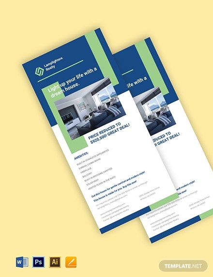 Real Estate Advertisement Rack Card Template Word Doc Psd Apple Mac Pages Illustrator Rack Card Templates Rack Card Business Card Template Design
