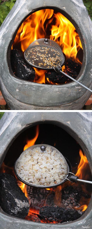 Steel popcorn popper, ideal for BBQs, chimineas or fire bowls.  http://www.worldstores.co.uk/p/Steel_Popcorn_Popper_For_Frying_Pan.htm