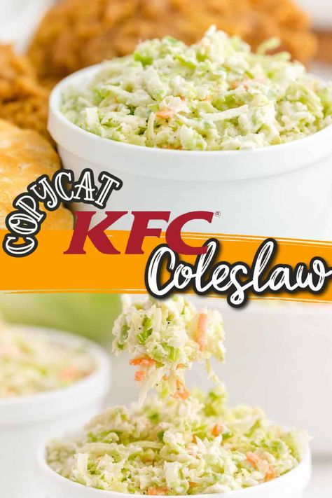 KFC Copycat Coleslaw Recipe - With its creamy, buttermilk dressing and crunchy cabbage it's no secret why we love KFC coleslaw. This copycat KFC coleslaw recipe will have you making the best homemade coleslaw, that even the Colonel would be proud of. In just three steps, this coleslaw recipe is so easy to make and it's just as good as the original.