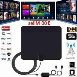 Ultra Thin Flat Indoor Hdtv Amplified Hd Tv Signal Antenna 16ft Coax 300 Mile In 2020 Digital Antenna Digital Tv Tv Antenna