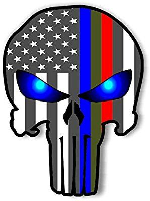 Thin Red//Blue Line Punisher USA Flag Window decal 3 Sizes Free Shipping