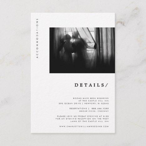 Minimal Modern Typography Photo Wedding Details Enclosure Card