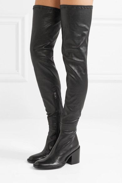 Black Stretch-leather thigh boots   Ann
