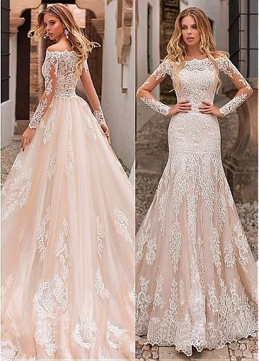 [283.60] Eyecatching Tulle Off-the-shoulder Neckline 2 In 1 Wedding Dress With Lace Appliques & Detachable Skirt - magbridal.com.cn -  [283.60] Eyecatching Tulle Off-the-shoulder Neckline 2 In 1 Wedding Dress With Lace Appliques & Det - #AlineWeddingDresses #appliques #BeachWeddingDresses #BridalCollection #ChiffonWeddingDresses #detachable #dress #EmpireWeddingDresses #Eyecatching #Lace #magbridalcomcn #MermaidWeddingDresses #neckline #OffTheShoulder #OrganzaWeddingDresses #SatinWeddingDresses