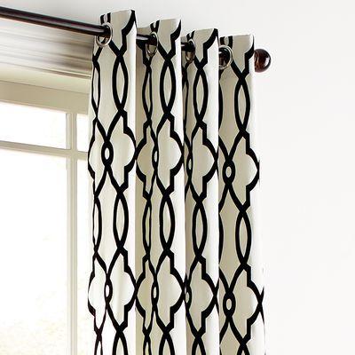 Flocked Trellis Black White 96 Grommet Curtain Grommet Curtains White Curtains Living Room Pattern Curtains Living Room