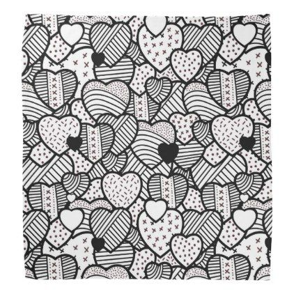 Cute Black White Hearts Patterns Bandana Zazzle Com Black
